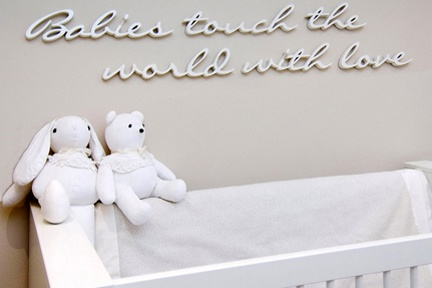 The quote above the cot adds a special touch and is the first thing visitors see when they enter the nursery.  http://www.kidsindesignedspaces.com.au/residential/babyproject1