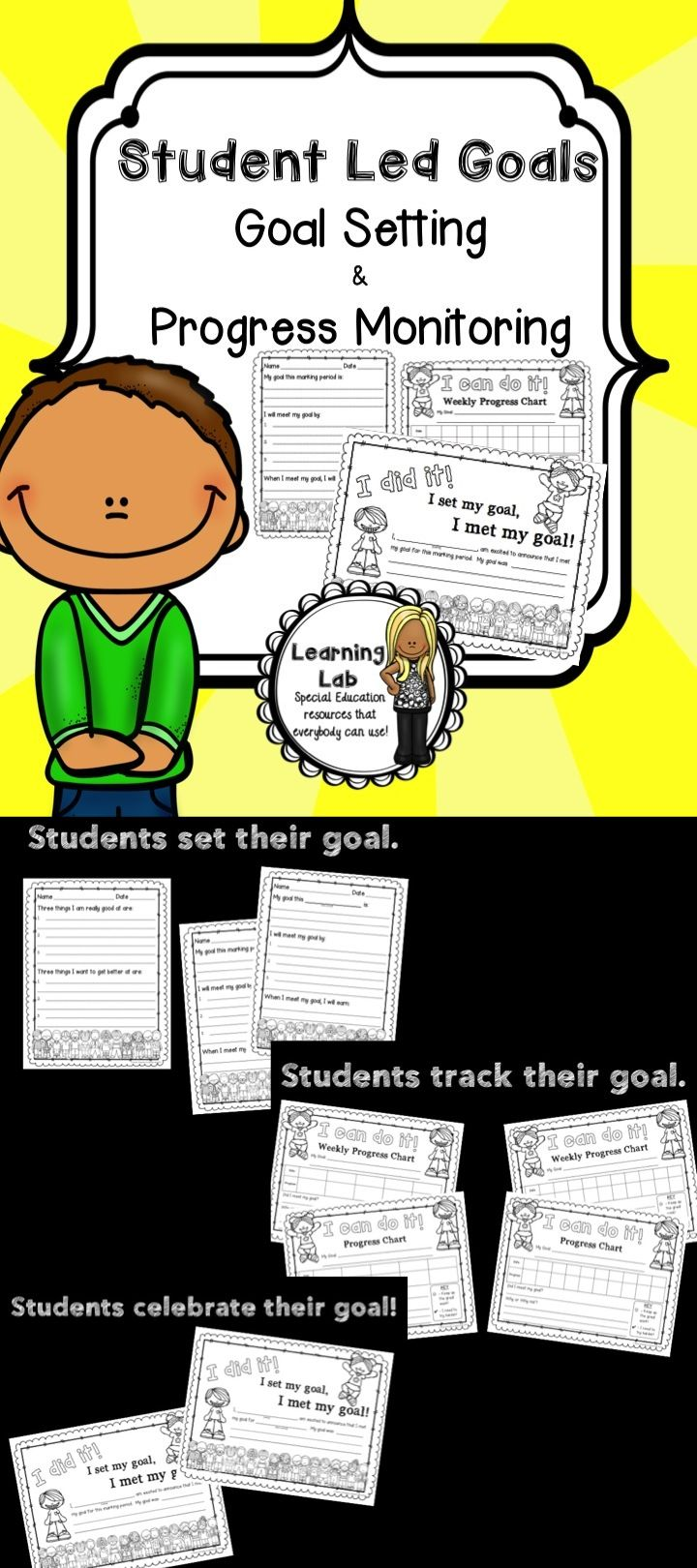 This student led goals set helps students to set, track, and celebrate their own goals!  Use the planner to set a goal, the charts to progress monitor, and the certificate to celebrate their accomplishment!