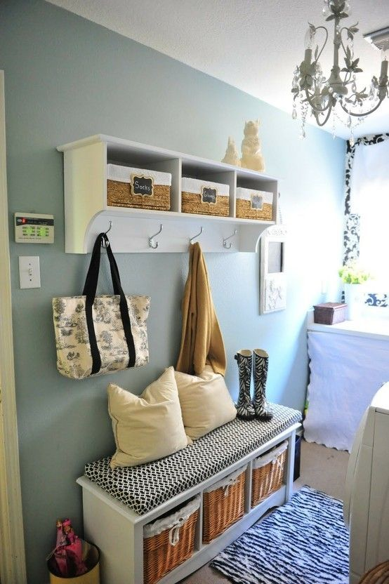 For the entry ways: Ideas, Entry Way, Mudroom, Restoration Hardware, Benches, Paintings Colors, Mud Rooms, Laundry Rooms, Silver Sage