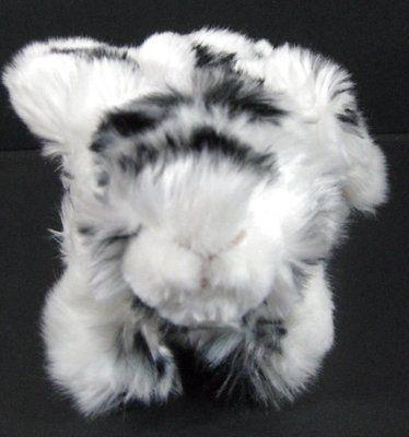 "9"" Black White Furry Bunny RABBIT Plush Stuffed Walmart Toy B255"