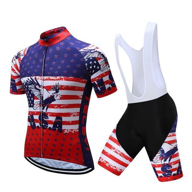 Teleyi Brand Pro Team Racing Sport Cycling Jersey Sets Men Usa Style Mtb  Road Bike Jersey 87ae824c8