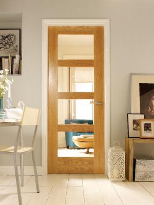 Wickes Marlow Internal Oak Veneer Door Clear Glazed 4 Panel 1981x762mm £125