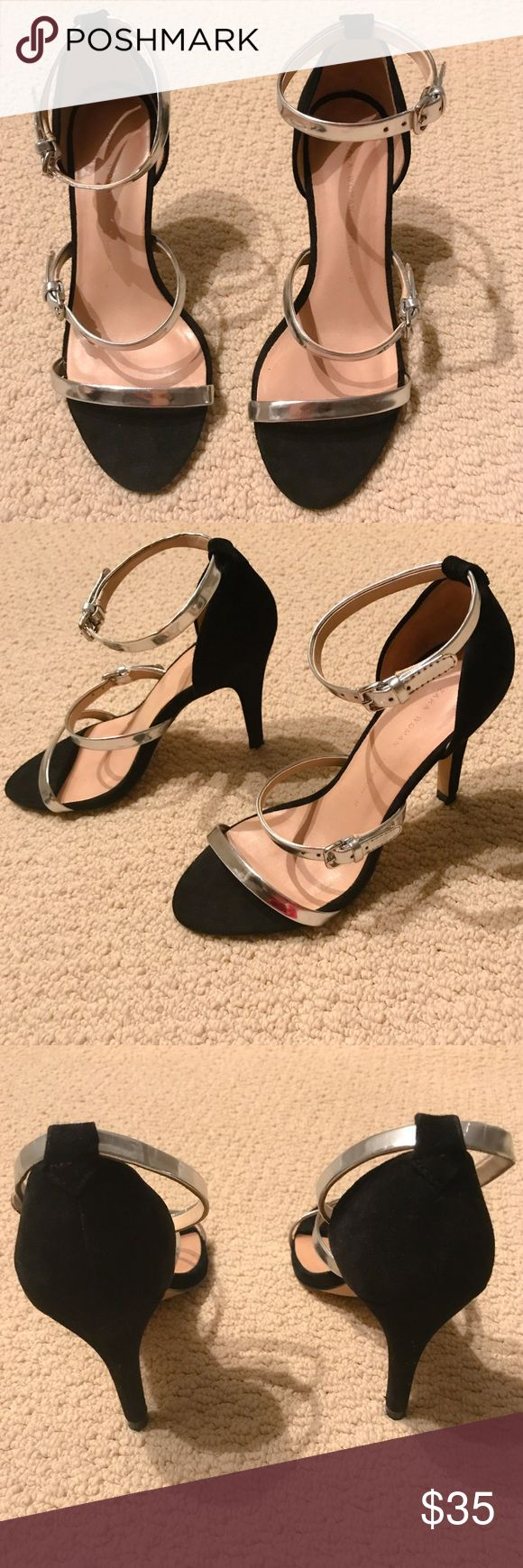 """Zara Silver & Black Strappy Sandal Black Suede and Silver Strappy Heels. Great with jeans or with a dress for a night out. Perfect pair for date night. Worn once to a birthday bash for 3hrs. In great condition! Heel height approx 3""""  Zara Shoes Sandals"""