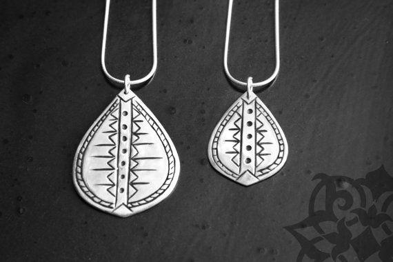 Silver tribal drop pendants