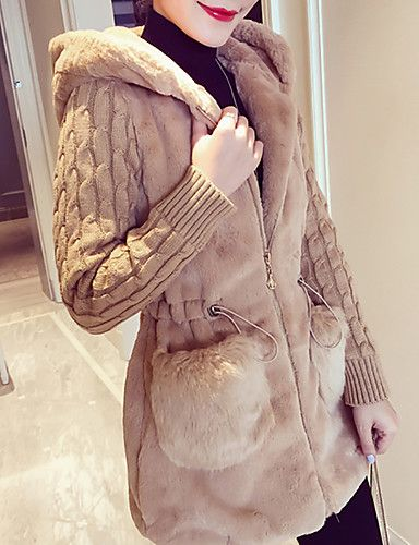 [$50.99] Women's Daily / Going out Basic / Street chic Spring / Fall & Winter Plus Size Regular Coat, Solid Colored Hooded Long Sleeve Faux Fur / Acrylic Patchwork White / Camel / Gray XXL / XXXL / 4XL 2