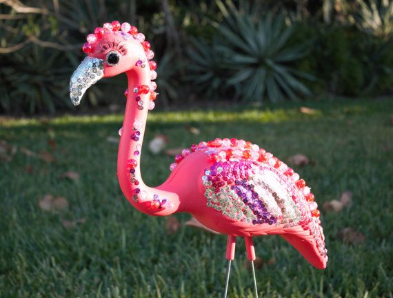 Bedazzled Flamingo Lawn ornament, Pink Plastic Flamingo with bling bling, shiny Sequins, flashy lawn Art