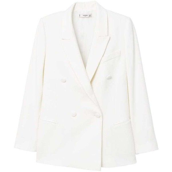 Double-Breasted Blazer (£120) ❤ liked on Polyvore featuring outerwear, jackets, blazers, white jacket, double-breasted blazers, double breasted jacket, white double breasted jacket and blazer jacket