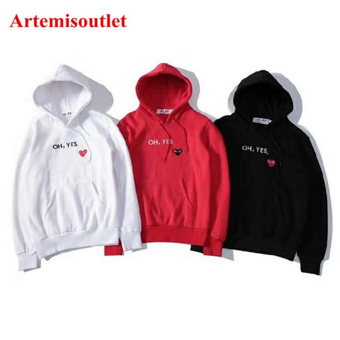 Comme Des Garcons Play Oh Yes White Red Black Hoodies Trendy Hoodies Heart Sweater Red Hoodie