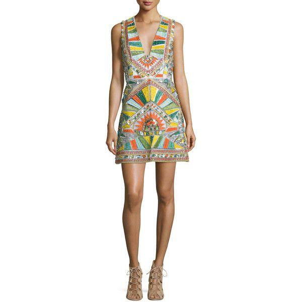 Alice + Olivia Natali Sleeveless Sequined Racerback Dress (1,800 CAD) ❤ liked on Polyvore featuring dresses, multi colors, sequin dress, v neck sequin dress, sleeveless dress, slimming dresses and sleeveless cocktail dress