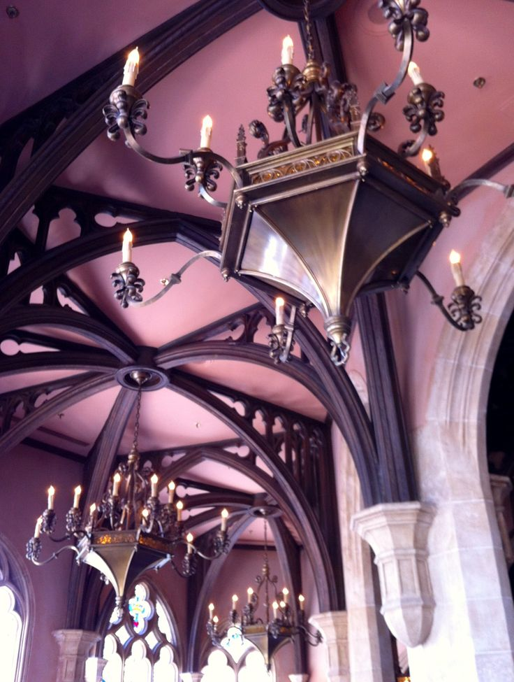 Restaurant chandeliers in Cinderella's Castle at the Magic
