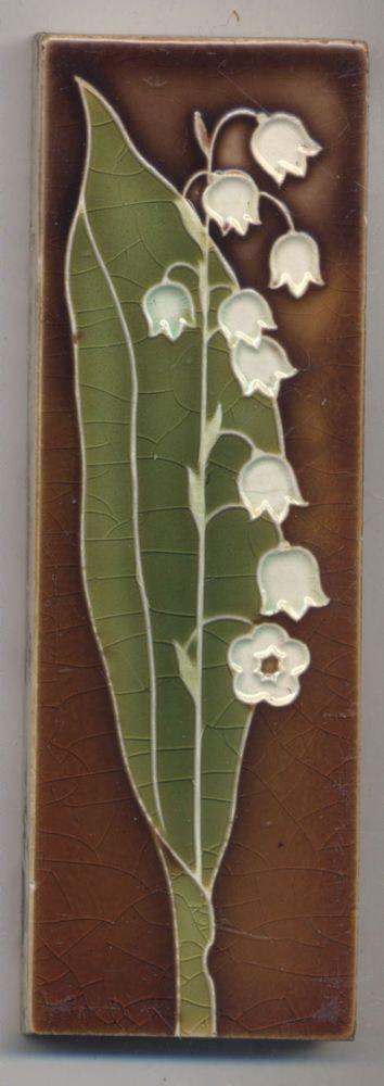 Super rare  Wessel  Maiglöckchen Jugendstil  Fliese  art  nouveau  tile