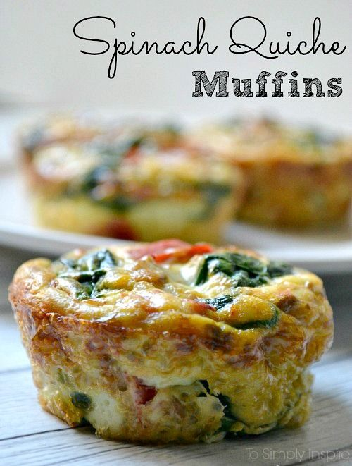 These healthy little spinach quiche muffins are easy to make ahead and just heat them up each morning. Have along with oatmeal for a great clean eating breakfast.