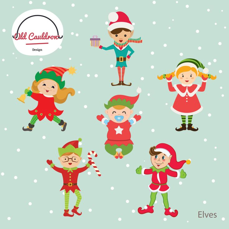 Christmas Elfs characters clipart commercial use, christmas clip arts,  vector graphics, digital clip art, digital images CL004 by OldCauldronDesign on Etsy