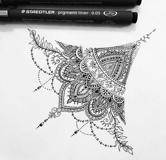 Olivia Fayne sternum tattoo design