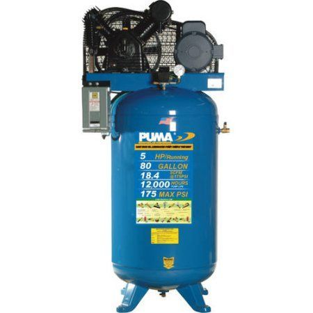 Puma Industries Air Compressor, TN-5080VM, Professional/Commercial/Industrial Two Stage Belt Drive Series, 5 HP Running, 175 Max PSI, 230/1 Voltage/Phase, 80 Gallons, 550 lbs.