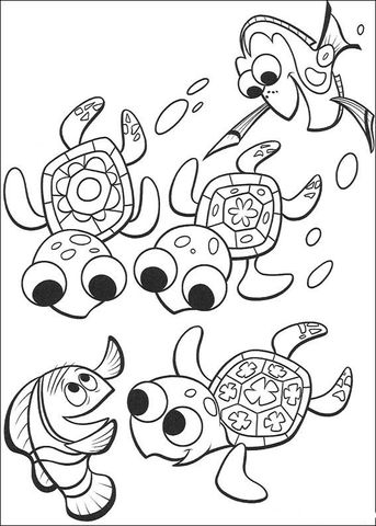 Nemo, Dory And three cute turtles coloring page from Finding Nemo category. Select from 20946 printable crafts of cartoons, nature, animals, Bible and many more.
