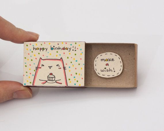 Cute cat birthday card matchbox small tiny gift box for Cute small gifts for friends