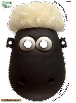 Shaun the Sheep mask, this would make a great party favor.