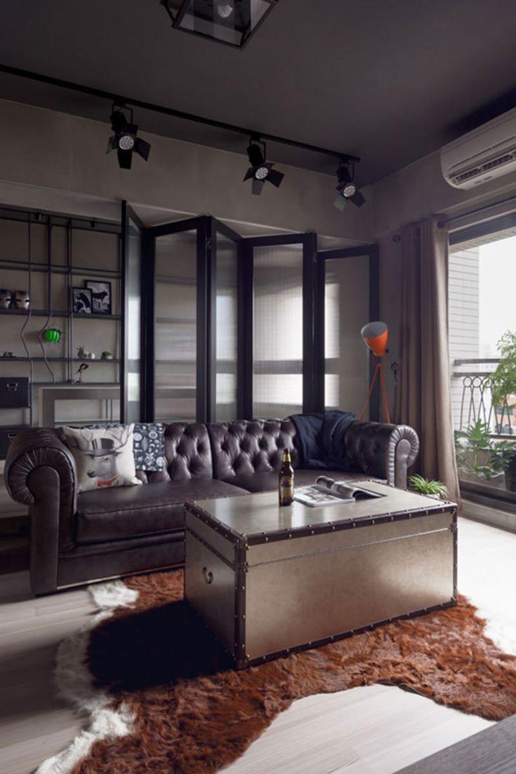 Apartamento masculino com decoração estilo industrial