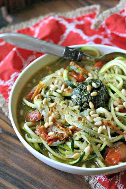 Vegan Zucchini Noodle Soup with Pesto. A quick and easy vegan soup that is loaded with flavor! Naturally gluten free, low carb and dairy free!