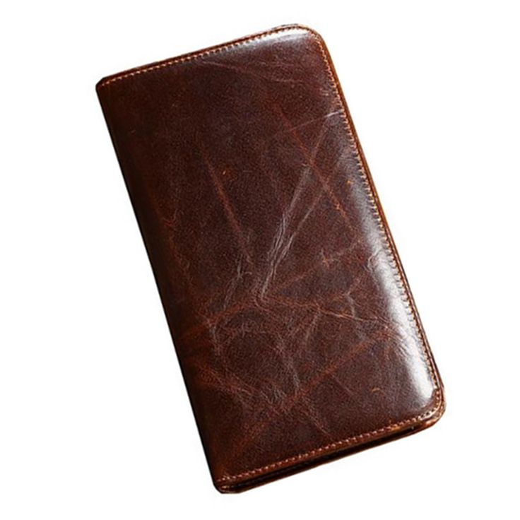 large capacity Men s Retro Coffee Long Wallets Young fashion business Genuine Leather ID Card Holder