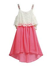 Lace Pop-Over Chiffon Dress