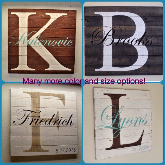 rustic distressed pallet wood personalized family sign with family initial and last name