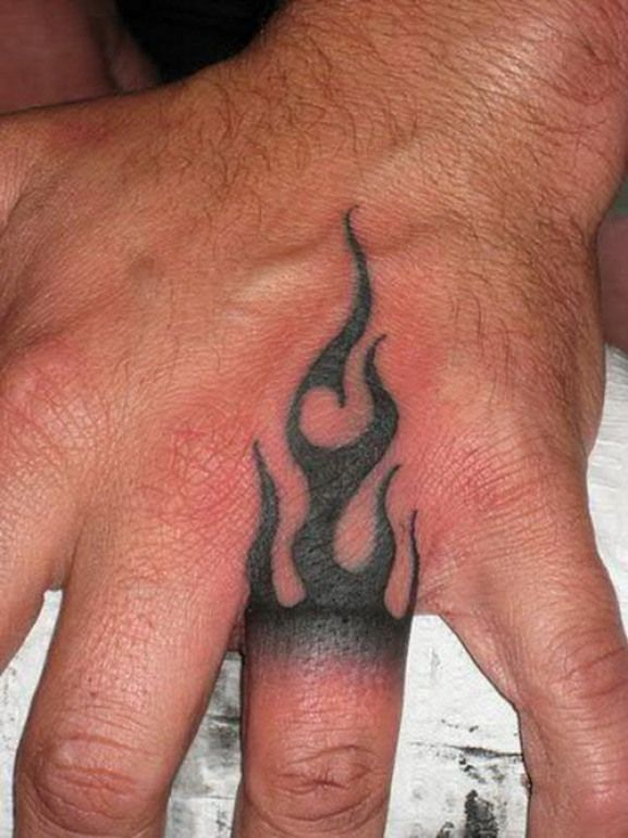 The Various Design Ideas For Hand Tattoos Fire Ring Hand Tattoo Designs Tattooeve Com Tattoo Design Inspira Flame Tattoos Men Finger Tattoos Tattoos For Guys