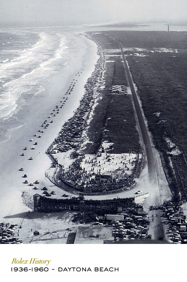Daytona Beach, Florida. Long, flat and firm, with hard-packed sand, the beach helped the city of Daytona to forge a legend as the world capital of speed. Although the surface is no longer sand today, Daytona still hosts a legendary test of man and machine on its racing circuit: the Rolex 24 at Daytona. #RolexOfficial