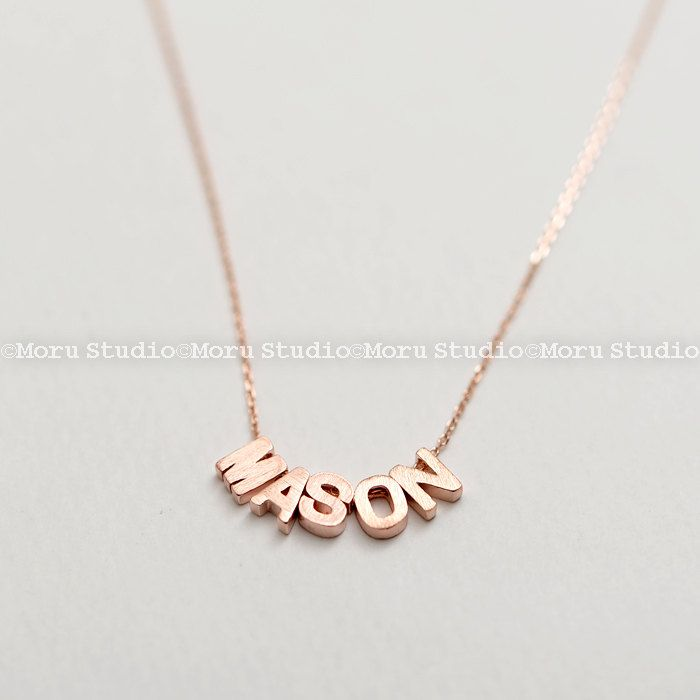 Personalized Initial Block Necklace/ Dainty Rose Gold Letter Necklace / Small Monogram Necklace/ Bridesmaid Jewelry by MoruStudio on Etsy
