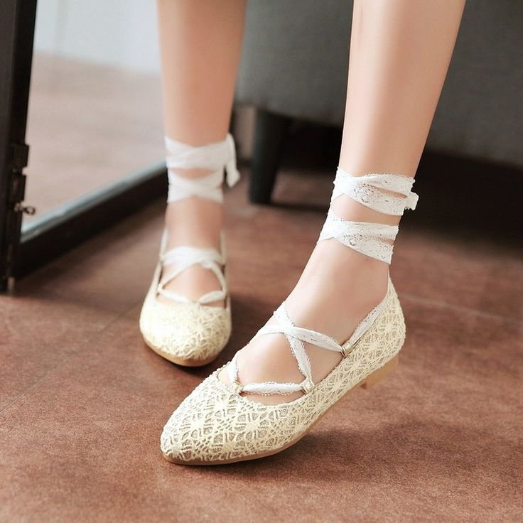 Pointed Toe Tie Up Lace Flat Shoes 9807