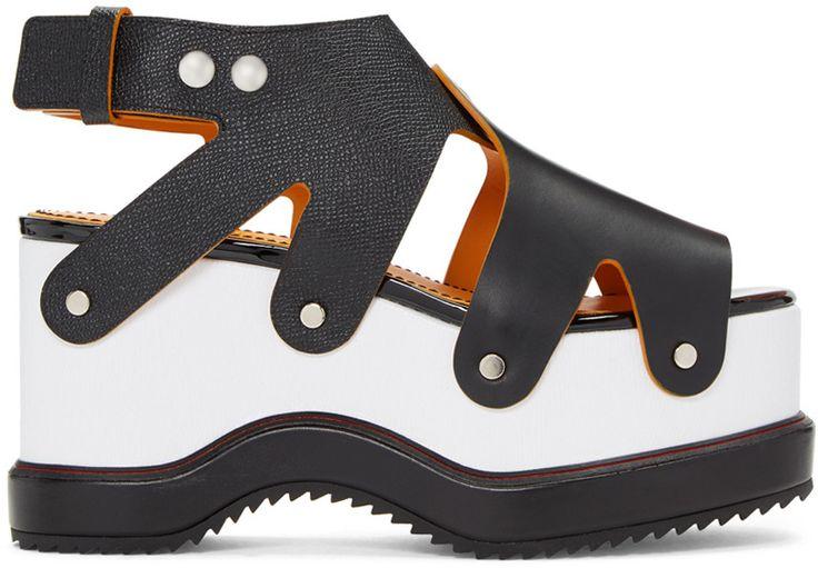 Proenza Schouler - Sandales à plateformes noires et blanches