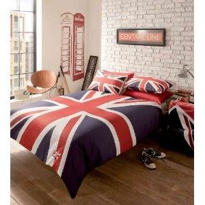 London Reversible Union Jack Red White Blue Single Duvet Quilt Cover Bedding Set: Amazon.co.uk: Kitchen & Home