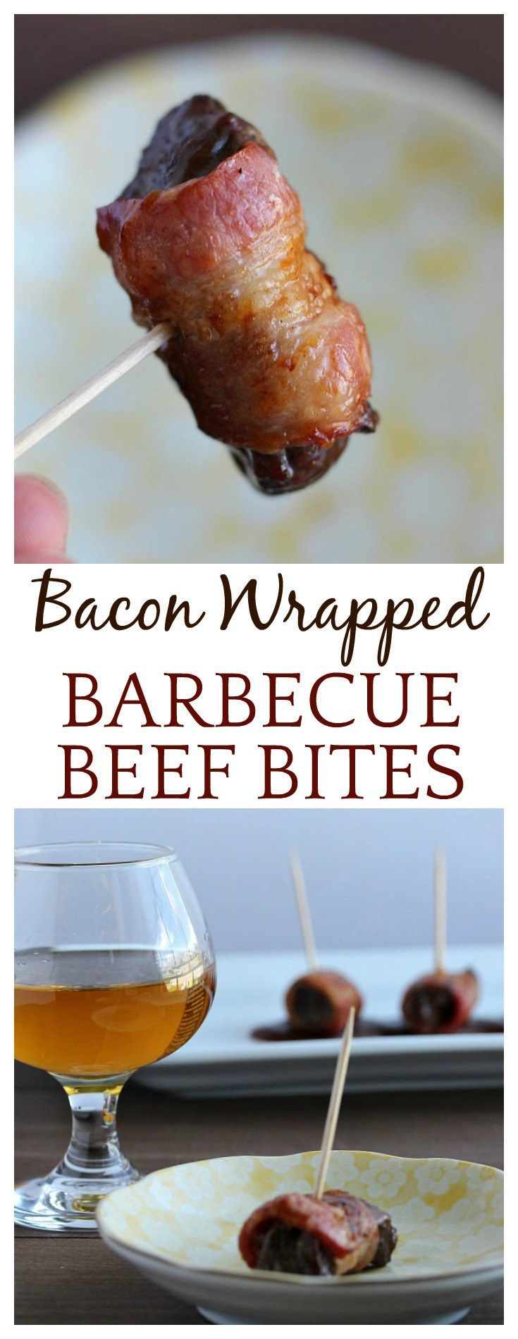 Bacon Wrapped Barbecue Beef Bites make a great appetizer recipe for entertaining, especially when paired with a perfectly matched whiskey!