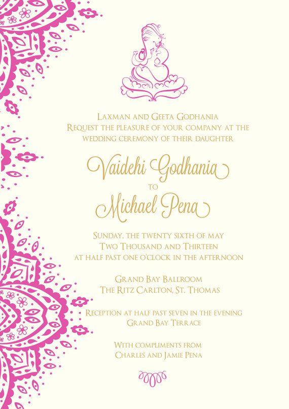 Wedding invitation  Indian inspired by nineoninecreative on Etsy, $12.00