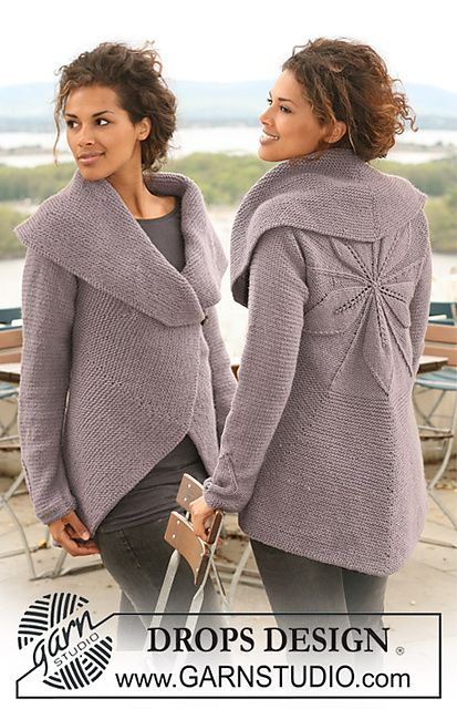 """Ravelry: 126-1 Jacket knitted in a circle in """"Nepal"""" with leaf pattern pattern by DROPS design FREE PATTERN"""