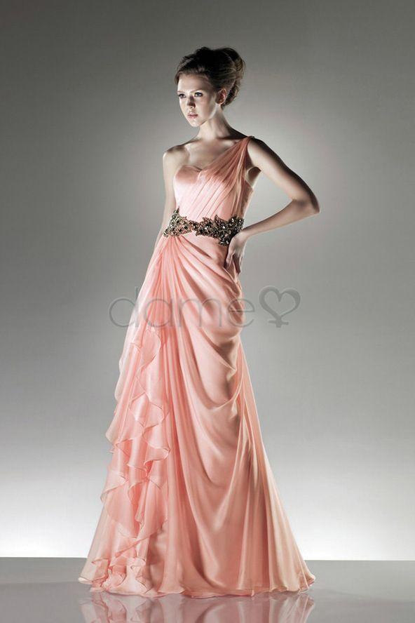 A Linie Chiffon Applikation elegantes & luxuriöses seite drapiertes bodenlanges Ballkleid mit Träger