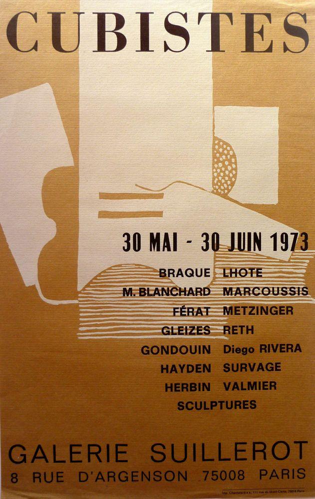 CUBISTES / Affiche originale d'Exposition  / Galerie Suillerot / Paris - 1973