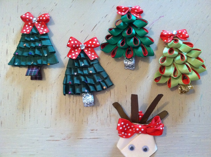 Raindeer Christmas Tree Ribbon Sculpture Hair by IsabeauGrace