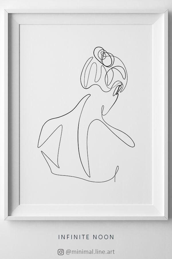 Woman Line Abstract, Single Line Print, One Line Drawing Wall Art, Minimal Line Illustration Artwork, Simplistic Line Figure, Nude Art
