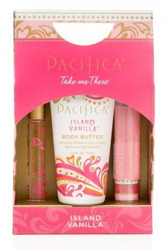 Pacifica Island Vanilla Take Me There Set by Pacifica. $18.00. DOES NOT INCLUDE: animal testing, animal bi-products, phthalates, parabens, sulfates, propylene glycol, benzene, GMOs, mineral oil, peanut oil and triclosan.. Pacifica Take Me There Sets feature three travel-sized products infused with nourishing natural ingredients and Pacifica's transporting and inspiring fragrance blends with essential and natural oils. Perfectly contained in a beautiful box that defies gif...