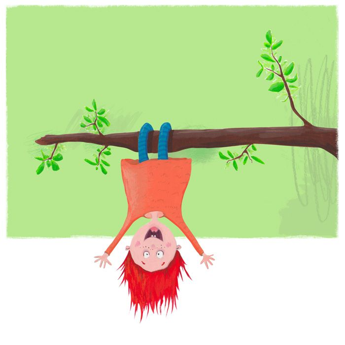 Girl-on-branch - andrearingli illustration