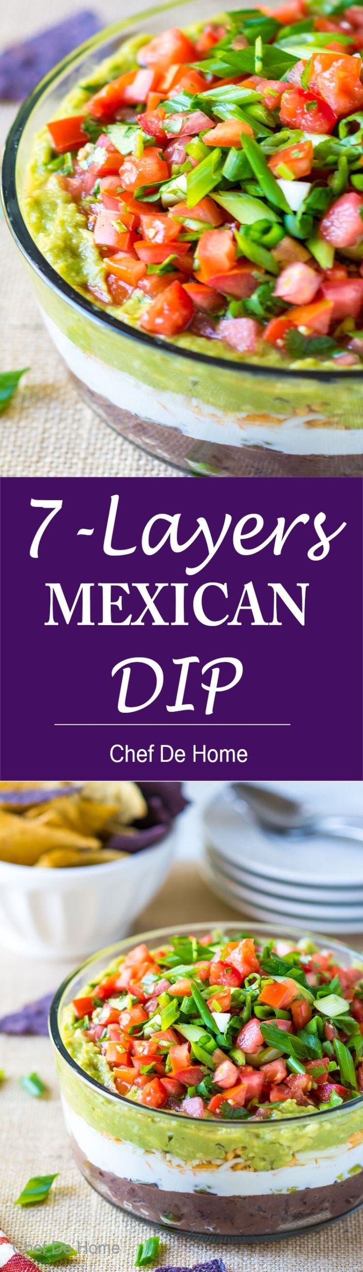 7 Layer Mexican Dip with black beans and sour cream and simple hack to not have runny cream layer! | www.chefdehome.com/