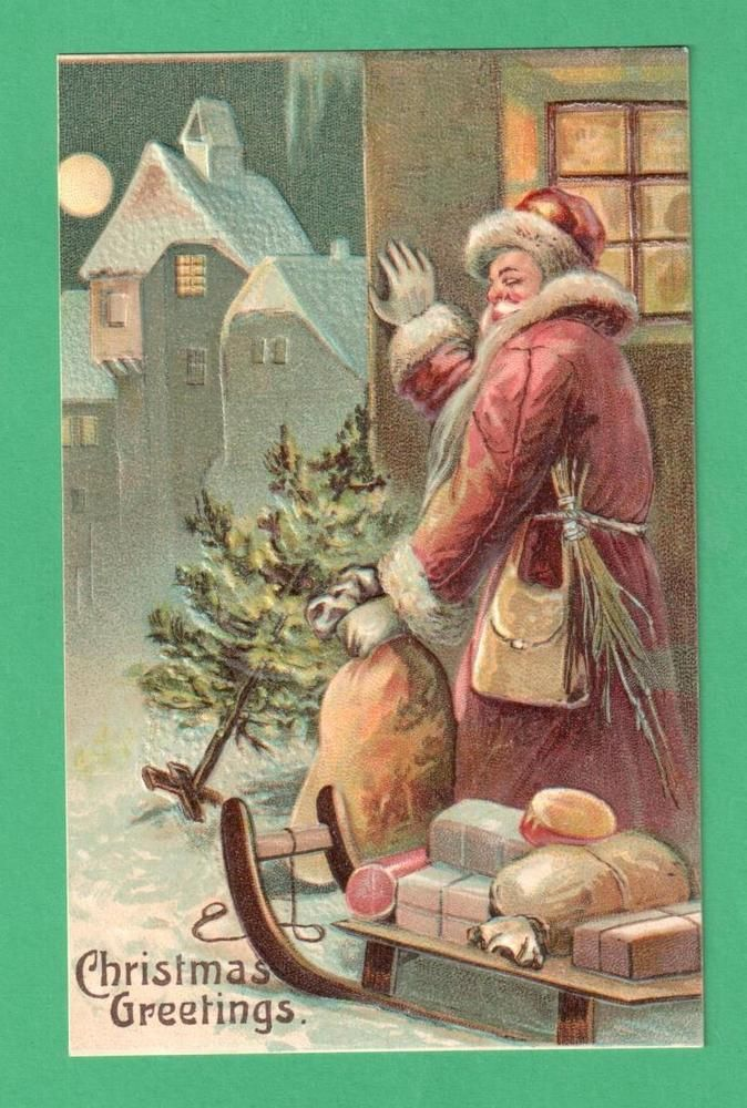 VINTAGE CHRISTMAS SANTA CLAUS POSTCARD SACK TREE SLED GIFTS SNOW MOON SWITCHES #Christmas