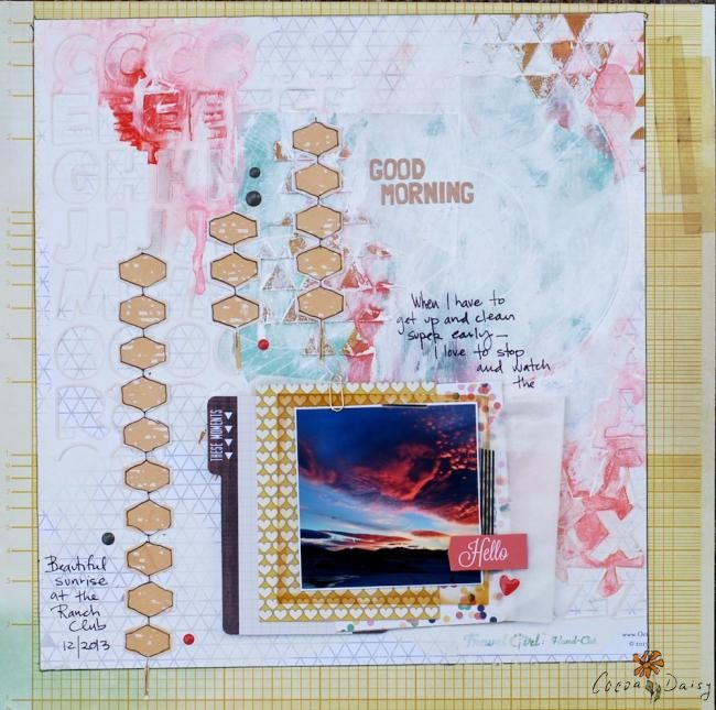 Good Morning by Denise Morrison: using the January 2014 Cocoa Daisy kit, Blueprint and add ons. It's the sunrise in paper form. Get your own kit for $32.95 plus S+H at www.cocoadaisy.com
