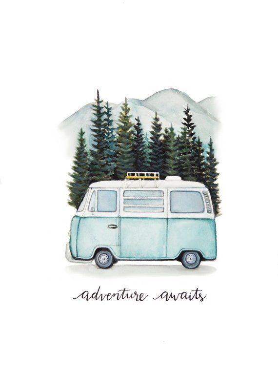 "VW Bus ""Adventure Awaits"" Road Trip in the Mountains, Original Art Print"