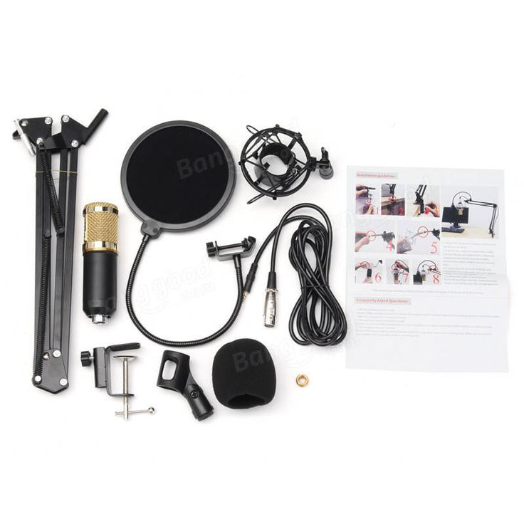 BM800 Condenser Microphone Dynamic System Kit Shock Mount Boom Stand Studio Pro Sale - Banggood.com