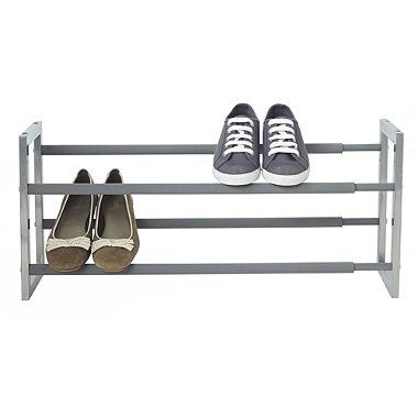 "Extending Steel Shoe Rack - From Lakeland  £20 - holds up to 10 pairs of shoes 61.5 x 18.5 x 30cm H. (24¼"" x 7¼"" x 12""). Extends to 107cm (42"")"