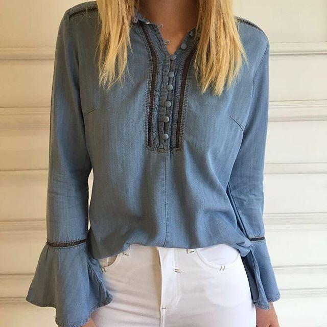 Camisa Jeans Manga Flare - Bebela Jeans - Luttiê - Loja Online Revendedora…