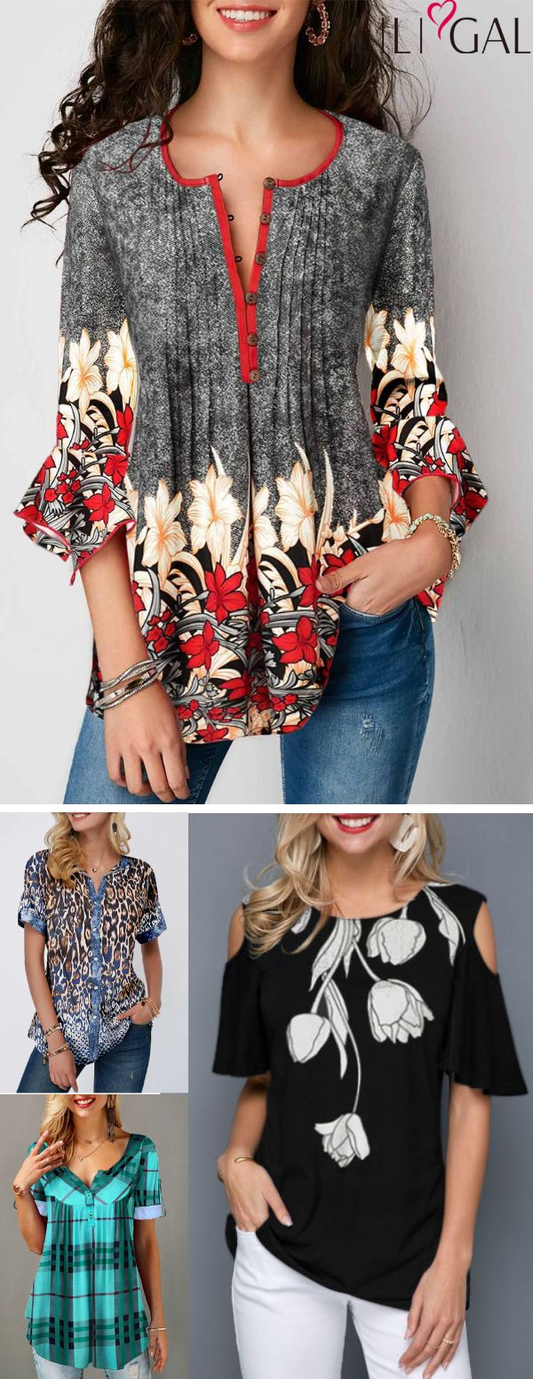 Retro Flower Print Spring Summer Tops for women